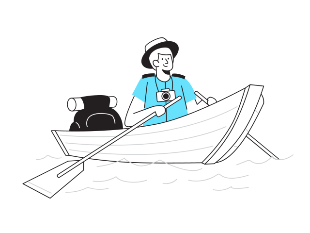 ゆっくり船で進む男
