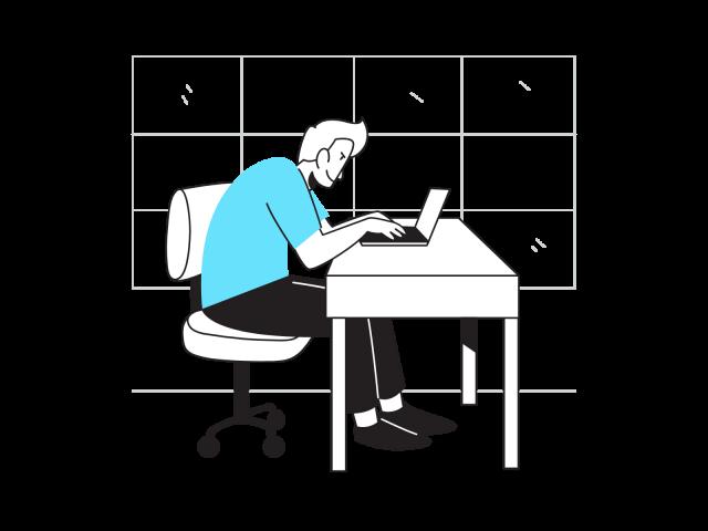 パソコンで作業をする男