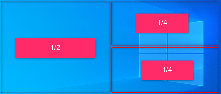 Windows10の3分割画面