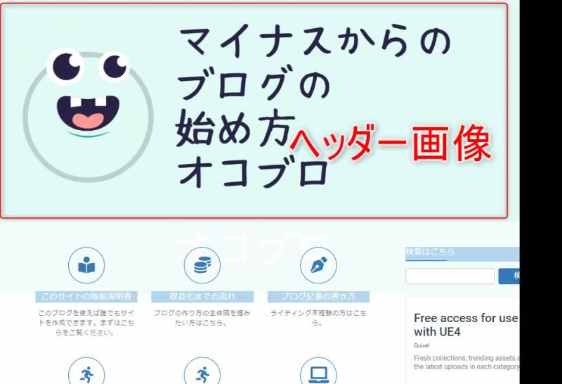 ヘッダー画像とはブログのトップページや各記事の最上部に表示される「ブログの顔」